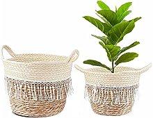 Atlnso 2 Stück Gewebter Blumentopf,Pflanze