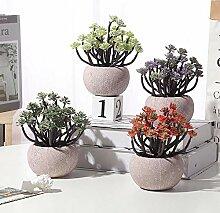 Atlnso 4er Set Pflanze Künstliche Mini Bonsai