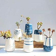 Atlnso 6er Set Sukkulenten Keramik Blumentöpfe