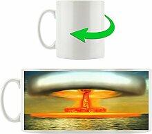 Atompilz, Motivtasse aus weißem Keramik 300ml, Tolle Geschenkidee zu jedem Anlass. Ihr neuer Lieblingsbecher für Kaffe, Tee und Heißgetränke.