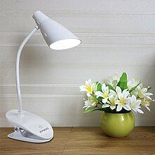 ATPWONZ LED Klemmleuchte, 360° Flexibel Schwanenhals klemmlampe, dimmbare Bettleuchte mit 3 Helligkeitstufen, Leselampe, Nachtischlampe,Schreibtischlampe,flexibel leseleuchite am Bett, wiederaufladbare mit USB Kabel,Weiß