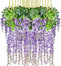 Attvn Kunstblumen, 12 Stück Glyzinien Künstliche