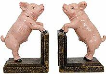 aubaho 2 Buchstützen Buchständer Schwein Statue