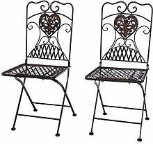 aubaho 2x Gartenstuhl Paar Stuhl Bistrostuhl Eisen