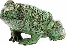 aubaho Figur Skulptur Frosch 28cm Eisen grün 6kg