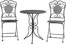 aubaho Gartenset Tisch + 2X Stuhl Eisen