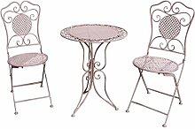 aubaho Gartenset Tisch und 2 Stühle Eisen
