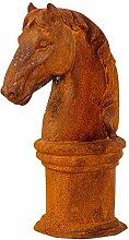 aubaho Pferdekopf Sockel Skulptur Eisen Figur