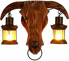 Auccy Kreative Holz Wandlampe Stierkopf Bettlampe