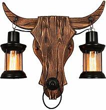 Auccy Vintage Holz Wandlampe Innen Stierkopf