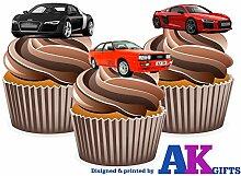 Audi VOITURE LOT DE 12 DÉCORATIONS COMESTIBLES EN GAUFRETTE POUR CUPCAKES