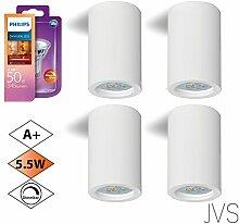 Aufbauleuchte Deckenleuchte Aufputz DIMMBAR LAMIA (Rund, Weiss) Inkl. 4 X 5.5W LED PHILIPS Warmweiss GU10 Fassung 230V Deckenleuchte Strahler Deckenlampe Würfelleuchte Kronleuchter aus Gips