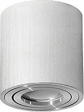 Aufbaustrahler Aufbauleuchte PALERMO Aufputz Deckenlampe Deckenleuchte Strahler Downlight ohne Leuchtmittel (RUND SILBER)