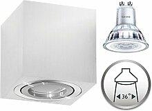 Aufbaustrahler Dimmbar Aufbauleuchte PALERMO Aufputz Deckenlampe Deckenleuchte Strahler Downlight 5,5W Warmweiß (Eckig Silber 5,5W Philips Dimmbar)