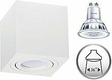 Aufbaustrahler Dimmbar Aufbauleuchte PALERMO Aufputz Deckenlampe Deckenleuchte Strahler Downlight 5,5W Warmweiß (Eckig Weiß 5,5W Philips Dimmbar)
