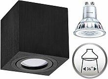 Aufbaustrahler Dimmbar Aufbauleuchte PALERMO Aufputz Deckenlampe Deckenleuchte Strahler Downlight 5,5W Warmweiß (Eckig Schwarz 5,5W Philips Dimmbar)