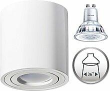 Aufbaustrahler Dimmbar Aufbauleuchte PALERMO Aufputz Deckenlampe Deckenleuchte Strahler Downlight 5,5W Warmweiß (Rund Weiß 5,5W Philips Dimmbar)