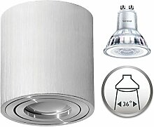 Aufbaustrahler Dimmbar Aufbauleuchte PALERMO Aufputz Deckenlampe Deckenleuchte Strahler Downlight 5,5W Warmweiß (Rund Silber 5,5W Philips Dimmbar)