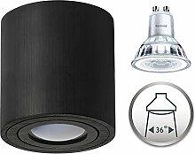 Aufbaustrahler Dimmbar Aufbauleuchte PALERMO Aufputz Deckenlampe Deckenleuchte Strahler Downlight 5,5W Warmweiß (Rund Schwarz 5,5W Philips Dimmbar)