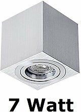 Aufbaustrahler PALERMO Deckenlampe Deckenleuchte Strahler mit 7W LED SMD Würfel Qube Downlight (Silber Würfel 7W)