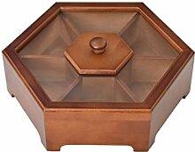 Aufbewahrungsbox aus Holz, mit Deckel, 7 Gitter,
