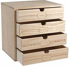Aufbewahrungsbox aus Holz mit drei Schubladen