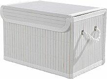 Aufbewahrungsbox Dekobox Aufbewahrungskiste MOHAN 10 | Bambus | Weiß | mit Deckel | 29x19x18 cm