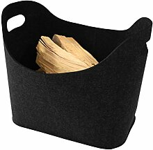 Aufbewahrungsbox oval in Filzoptik als Aufbewahrungskorb für Kaminholz, als Korb für Spielzeug, Hundespielzeug oder Transportbox - Farbe: schwarz