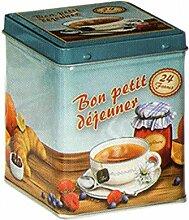 """Aufbewahrungsdose / Teedose, 100 g, 9,5 cm, Retro-Design mit französischer Aufschrift """"""""bon petit déjeuner"""""""", quadratisch, mit Scharnierdeckel"""