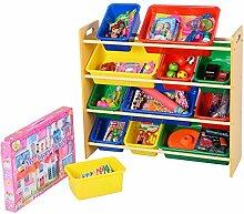 Aufbewahrungsregal Kinderregal Spielzeugbox Spielzeugregal Spielzeugkiste Kindermöbel mit 12 bunten Kästen