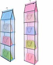 Aufbewahrungstasche Oxford-Tuch-Garderobe-Garderoben-hängender mehrschichtiger Staub-Beutel-hängender Beutel-Lagergestell Rollsnownow (Farbe : Pink, größe : 36*16*155cm)
