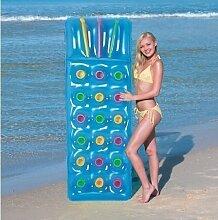 Aufblasbar 18Pocket Fashion Sonne Strand Schwimmbad Liege Lilo Air Bett Matte (blau)