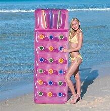 Aufblasbar 18Pocket Fashion Sonne Strand Schwimmbad Liege Lilo Air Bett Matte (Pink)