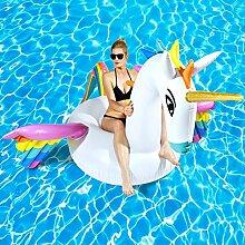 Aufblasbare Einhorn Luftmatratze XXL Unicorn Badeinsel Matratze 250 x 250 cm
