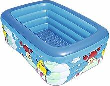 Aufblasbarer Familien-Swimmingpool, Geeignet Für Sommer-Unterhaltung Im Freien, Quadratischer Kinder-Überwasser-Park, Baby-Spiel-Pool, Kinder-Garten-Freizeit-Pool Im Freien, Übergroßes Kinder-Bad-Fass (blau), Nanayaya