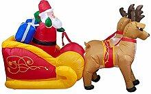 Aufblasbarer Weihnachtsmann mit Schlitten Nikolaus