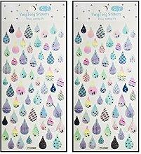 Aufkleber 2 Blatt Regentropfen Aufkleber Tagebuch