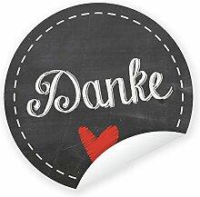 Aufkleber 'Danke' schwarz 24 Stück (4 cm)