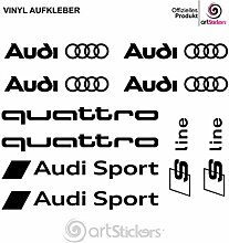 Aufkleber Autoaufkleber Audi motor sport - 10 Stk + bonus 1 stk SPILARTS® (Schwarz)