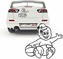 Aufkleber Baby mit Ball Autotattoo Folienschnitt verschiedene Farben Junge mit Basecap  P032