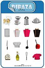 Aufkleber Chef Uniform Küchenartikel Charaktere