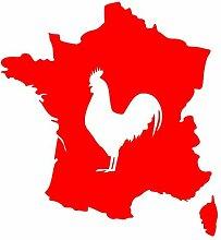 Aufkleber Frankreich mit gallischem Hahn in 8 Größen und 25 Farben (74x80cm hellrot)