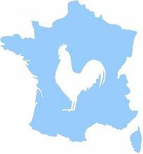 Aufkleber Frankreich mit gallischem Hahn in 8 Größen und 25 Farben (23x25cm hellblau)