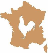 Aufkleber Frankreich mit gallischem Hahn in 8 Größen und 25 Farben (23x25cm hellbraun)