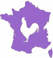 Aufkleber Frankreich mit gallischem Hahn in 8 Größen und 25 Farben (37x40cm lavendel)