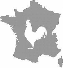 Aufkleber Frankreich mit gallischem Hahn in 8 Größen und 25 Farben (37x40cm grau)