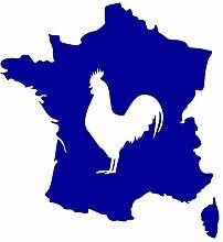 Aufkleber Frankreich mit gallischem Hahn in 8 Größen und 25 Farben (23x25cm brillantblau)