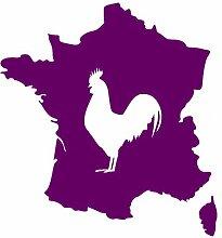 Aufkleber Frankreich mit gallischem Hahn in 8 Größen und 25 Farben (56x60cm violett)