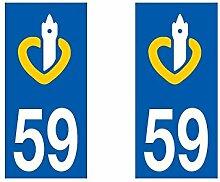 Aufkleber für Auto-Eintragungszeichen Nord Pas de Calais Abteilung Nord-Pas de Calais Nord/59