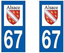 Aufkleber für Auto-Zulassung Alsace Departement Bas-Rhin Alsace/67